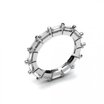Кольцо с камнями огранки багет по кругу Модель КЛ-1001