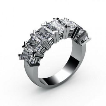 Кольцо с 7 камнями багет Модель КЛ-1059