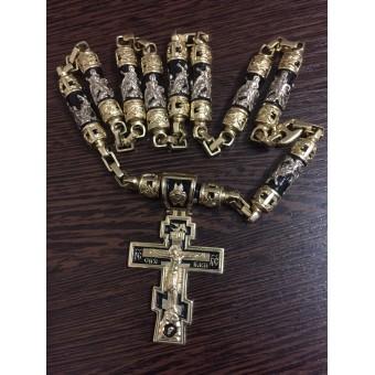 Крест эксклюзивный из желтого золота с черной эмалью и составной цепочкой