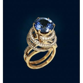 Женское кольцо с топазом и бриллиантами