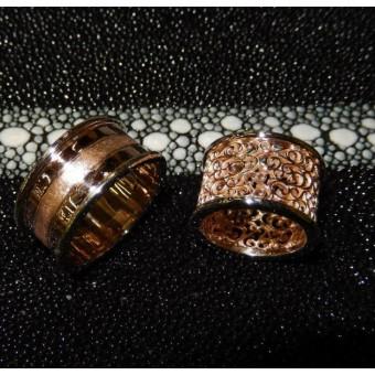 Эксклюзивные широкие обручальные кольца с ажурным рисункомые