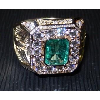 Мужской перстень с символикой, с Изумрудом и бриллиантами