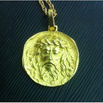 Кулон из желтого золота 750 пробы с ликом Зевса