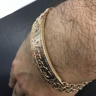 Восточный мужской браслет из золота с узорами, с надписью, месяцем и мечетью