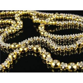 Золотая цепочка 585 пробы c бриллиантами по 2,5 мм каждый на заказ