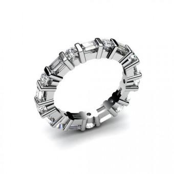 Кольцо с камнями огранки багет и круглой оганки Модель КЛ-1005