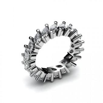 Кольцо с камнями огранки маркиз закрепка корнерами  Модель КЛ-1012