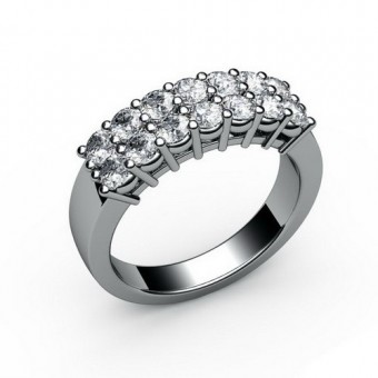 Кольцо с 14 круглыми камнями в 2 ряда корнерная закрепка Модель КЛ-1064