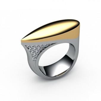 Кольцо без вставок из комбинированного золота Модель К-1008