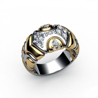 Кольцо широкое из комбинированного золота Модель К-1009