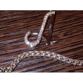 Подвеска с первой буквой имени из золота 750 пробы с бриллиантами именем