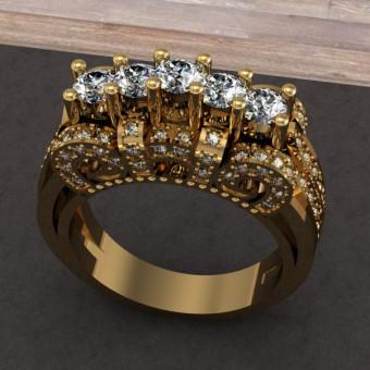 Женское кольцо с множеством бриллантов