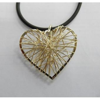 Ажурный кулон в форме сердца из золота 585 пробы
